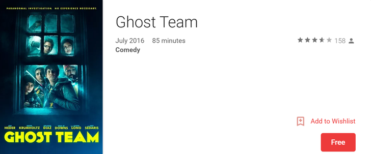 [Deal Alert] Ghost Team, a new comedy starring Jon Heder, is free on Google Play (countries where it's free only)