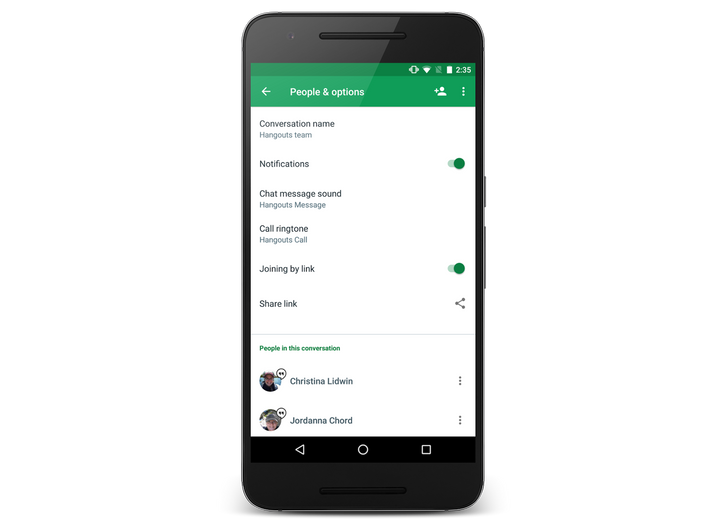 Hangouts 11 lets you invite more people to groups with a shared link (before WhatsApp, for once)