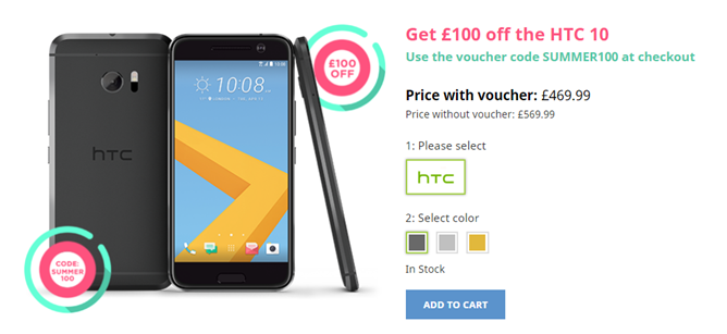 [Deal Alert] UK only: Take £100 off the HTC 10, down to £470