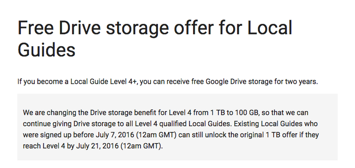 Google Maps Local Guides cuts Level 4 free Drive storage from 1TB to 100GB