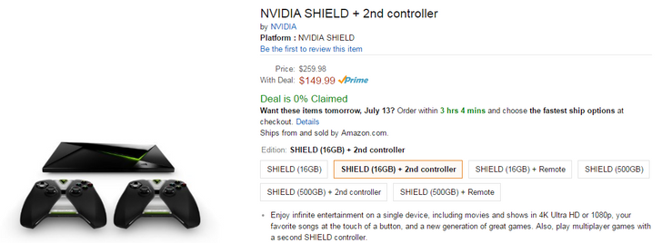 [Update: 16GB gone] Deal: NVIDIA Shield and Shield Pro $50 off on Amazon, plus free 2nd gamepad