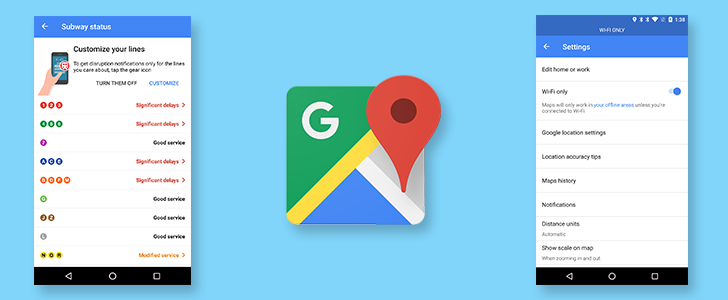 Google Maps is rolling out Wi-Fi only mode and mass transit delay notifications to some users