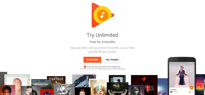 Google offers 4 month free trial of Play Music Unlimited and YouTube Red for new subscribers