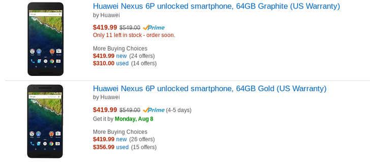 [Update: Now just $399] [Deal Alert] 64GB Nexus 6P falls from $100 to $130 off at Amazon and Best Buy