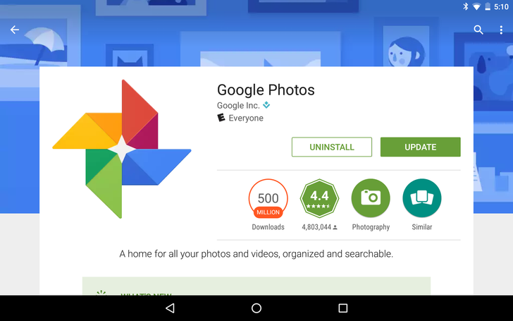 Google Photos,  Android System Webview, and HP Print Service plugin all reach 500 million installs