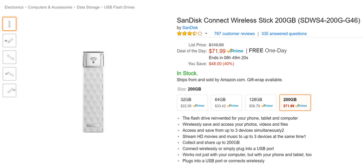 [8-Hour Deal Alert] 128 or 200GB SanDisk Connect Wireless Stick for $57/$72 on Amazon