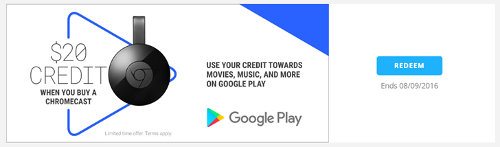 Canadian Chromecast 2015 and Chromecast Audio owners can claim $20 of free Play Store credit