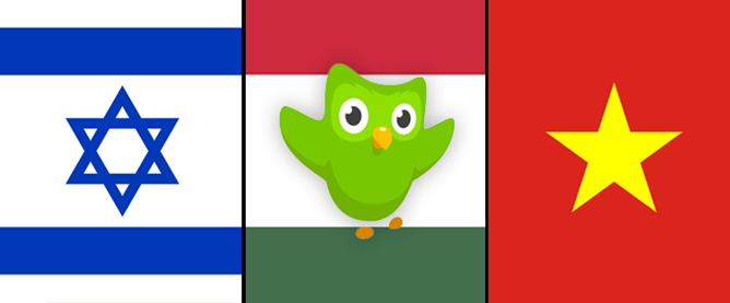 DuoLingo updated with language training in Hebrew, Hungarian, and Vietnamese