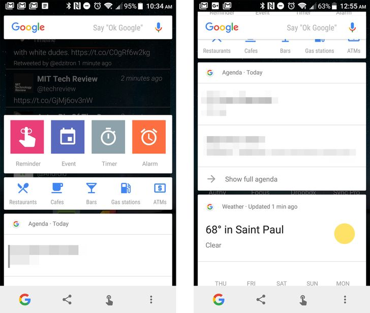 Google has started testing Now cards in Google Now on Tap