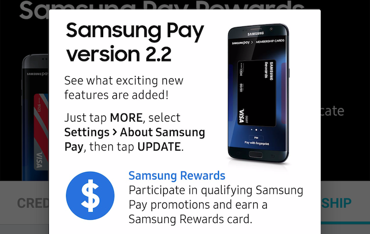 Samsung Pay app update adds support for Samsung Rewards Card