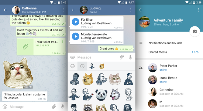 Telegram version 3.11 adds group previews, personal storage, faster downloads, trending stickers, and more