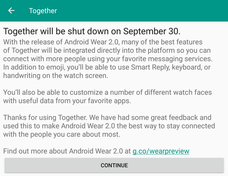 New Android Wear app update announces shutdown of Together by September 30... because Wear 2.0