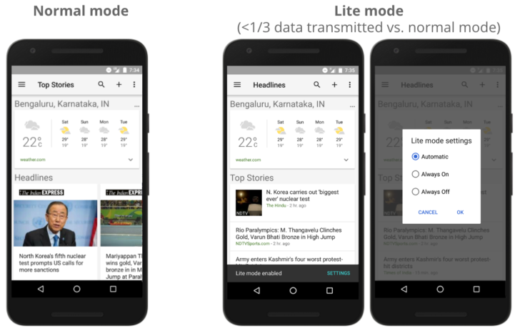 Google News & Weather 2.8 adds Lite mode, optimizes pages for slow connections