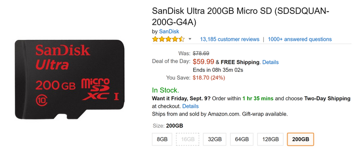 [8-Hour Deal Alert] Get a 200GB SanDisk microSD card for just $59.99 as part of Amazon's Deal of the Day