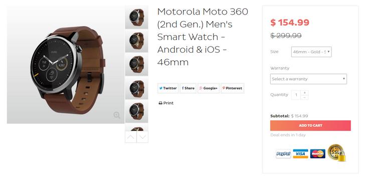 [Deal Alert] Refurb Moto 360 (2nd gen 46mm) on sale for $154.99 ($195 off) via Daily Steals