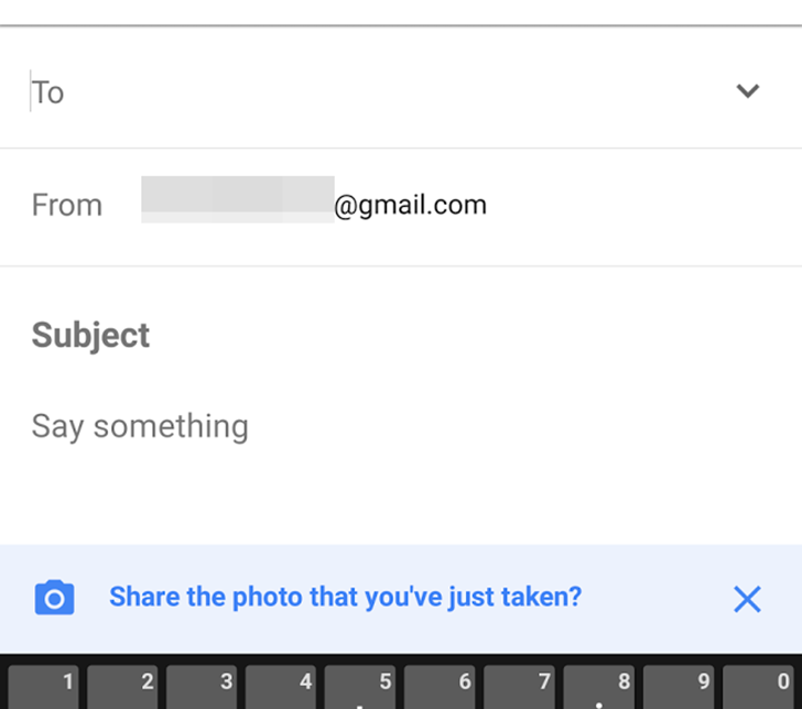Inbox starts asking if you want to share the photo you just took