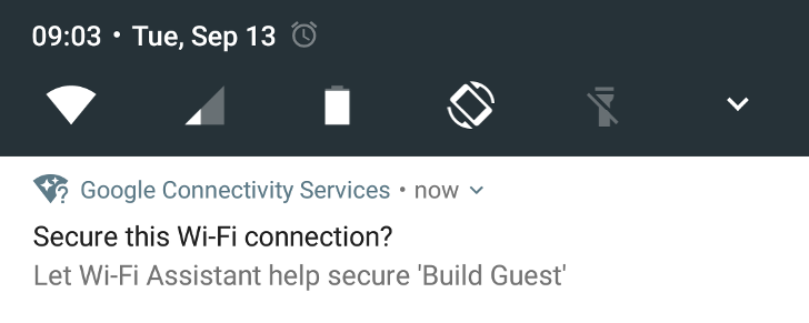 WiFi Assistant can secure manually connected non-secure networks as of Play services 9.6