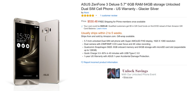 [Update: gone] ASUS's ZenFone 3 Deluxe and Laser are now purchasable on Amazon in the US, but won't ship for a few weeks