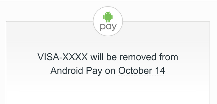 Google is finally kicking out unsupported cards from Android Pay in mid-October, causing people to freak out