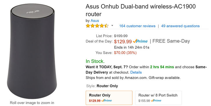 [Deal Alert] Asus OnHub Wireless-AC 1900 Router marked down to $130 ($70 off MSRP) as an Amazon Gold Box daily deal