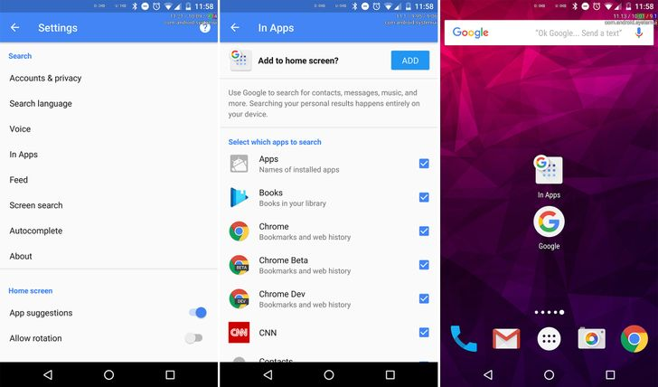 New Google app beta adds 'In Apps' home screen shortcut