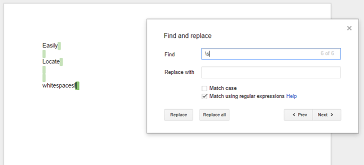 Google Docs now supports regular expressions, not on mobile apps yet