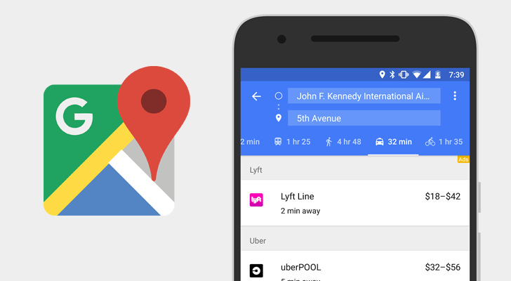 Google Maps adds Lyft and Gett to ride services tab