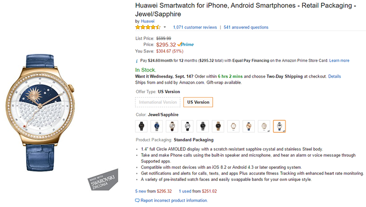 [Deal Alert] The $600 Huawei Watch Jewel/Sapphire is on Amazon for $295