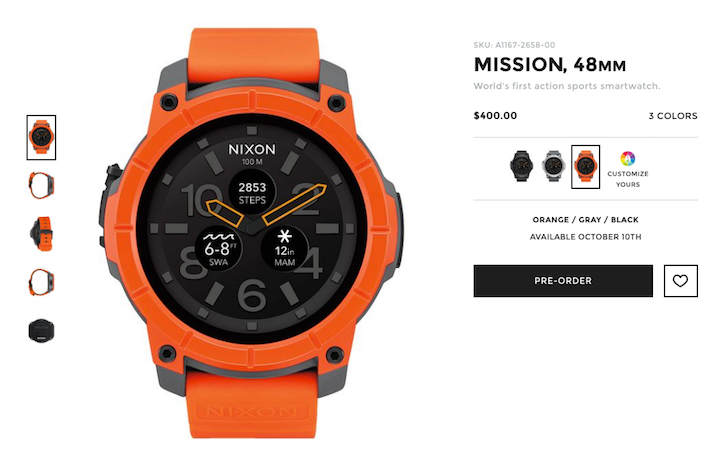 Nixon's Mission Android Wear watch is up for pre-order for $400, will be available October 10