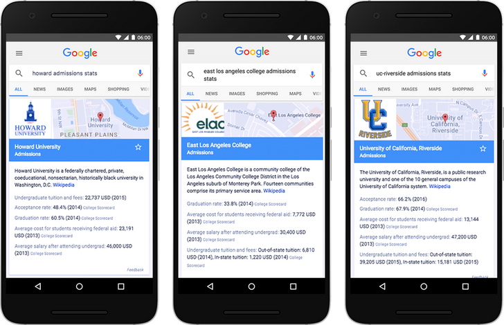 Data from the US Department of Education's College Scorecard is now available in Google Search