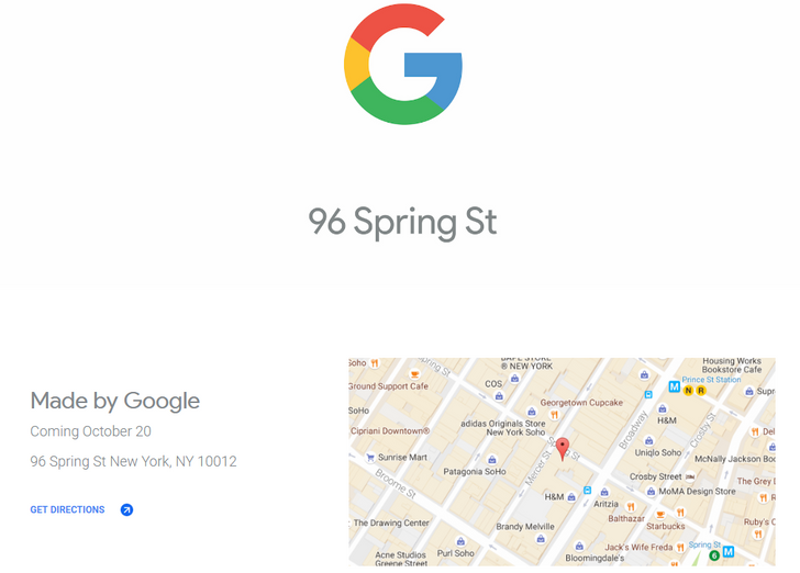 Google will have a Pixel popup store on October 20th in New York