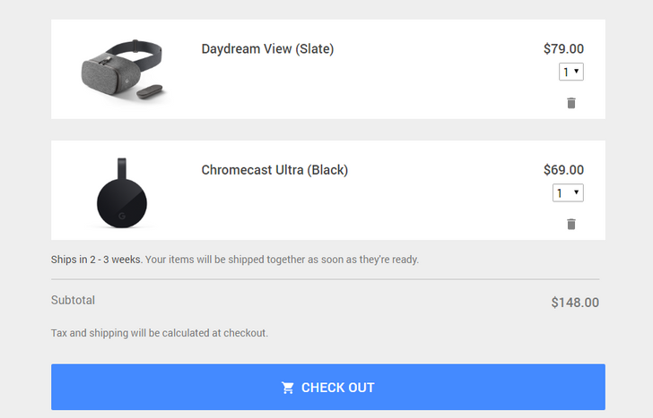 Chromecast Ultra and Daydream View now available in the Google Store, but won't ship for 2-3 weeks