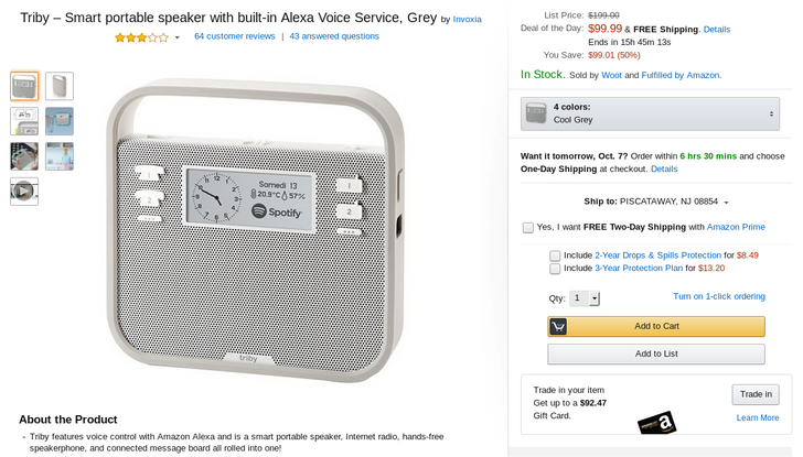 [Deal Alert] Amazon Alexa-powered Triby portable speaker only $99.99 on Amazon (50% off)