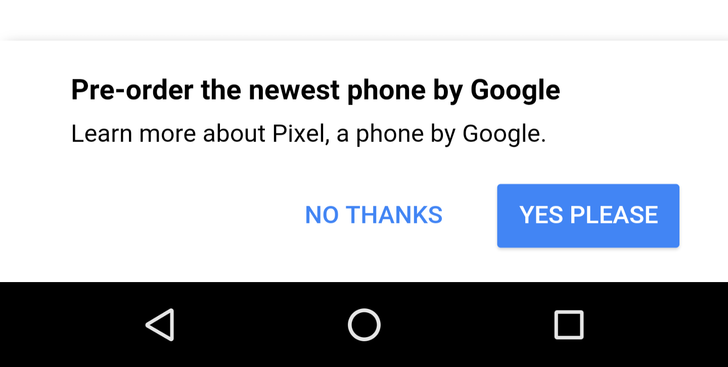 Google pushing Pixel pre-orders with popup on Google homepage