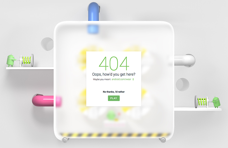 [Pipe Dream] Android.com's 404 Page Not Found is a fun and cute pipe game