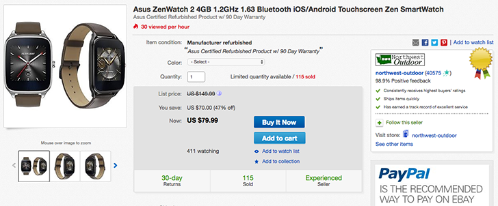 "[Deal Alert] Refurbished ASUS ZenWatch 2 1.63"" down to $79.99 on eBay"
