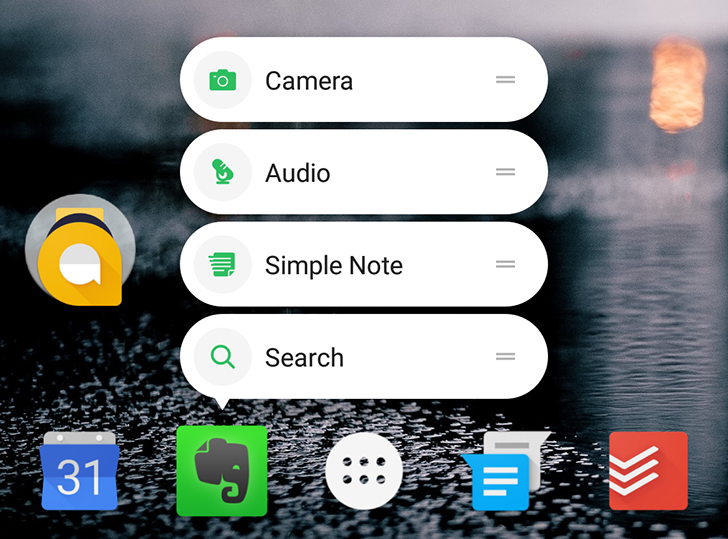 Evernote implements Android 7.1's launcher app shortcuts