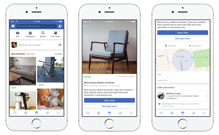 Facebook officially announces Marketplace, an easier way to buy and sell items locally