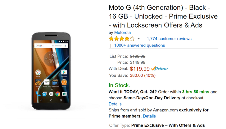 [Deal Alert] 16GB Moto G4 with lockscreen offers on sale for $119.99 ($30 off) for Amazon Prime members