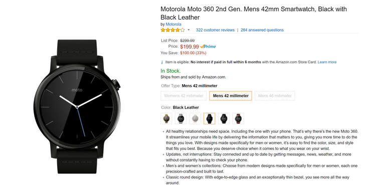 [Deal Alert] Get a black 42mm Moto 360 2nd Gen for just $199.99 from Amazon ($100 off)