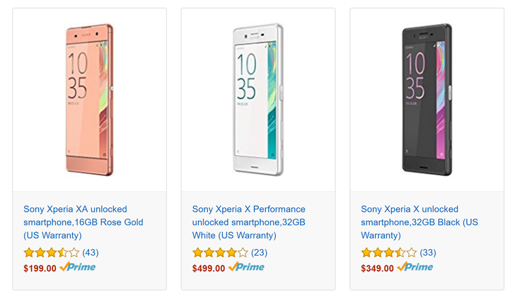 [Deal Alert] Sony Xperia XA, X, and X Performance all marked down 25% on Amazon today only, lowest prices yet