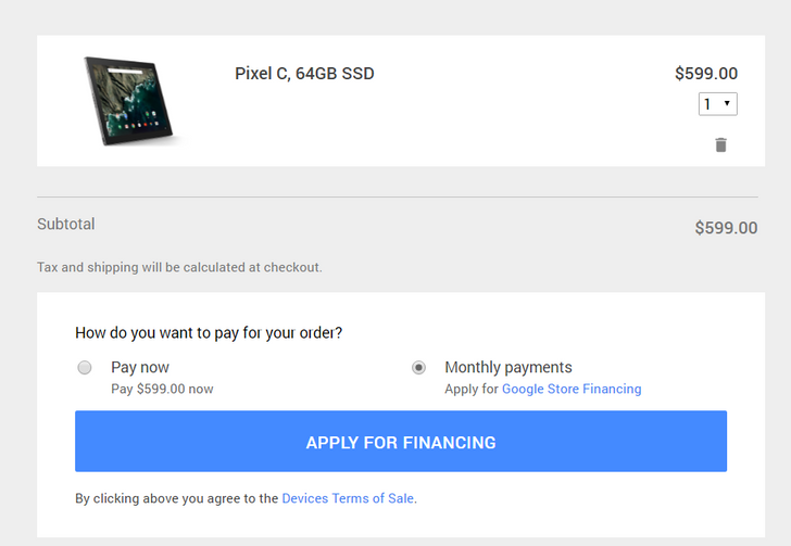 Google Store financing is not exclusive to the Pixel, available on any purchase $149 or higher