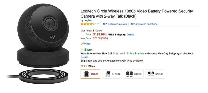 4ce0e2a96b3 [Update: $109.99 now] [Deal Alert] Logi Circle is available for $129 at  Amazon (35% off)
