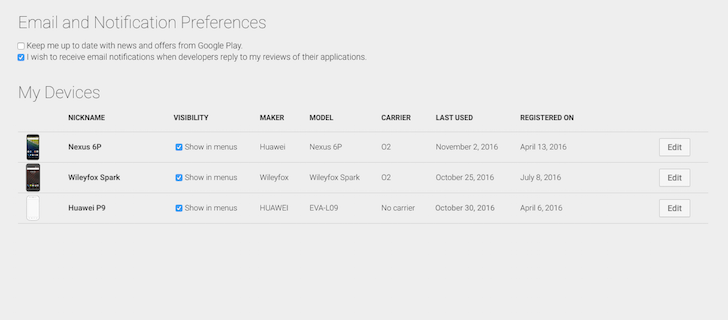 'My Devices' on Google Play finally has unused phones and tablets removed