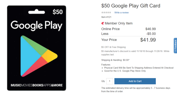 deal alert costco members can get a 50 play store gift card for just 5 off. Black Bedroom Furniture Sets. Home Design Ideas