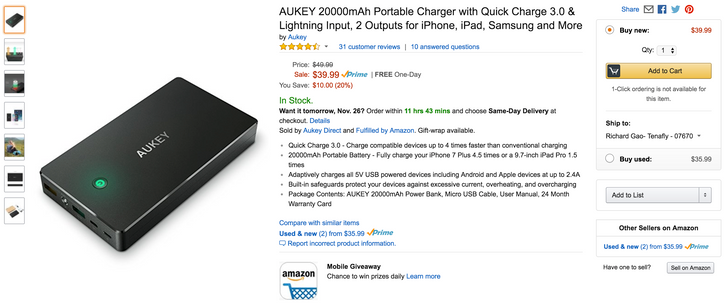 [Deal Alert] Save up to $10 on AUKEY chargers and a 20,000mAh battery at Amazon with promo codes