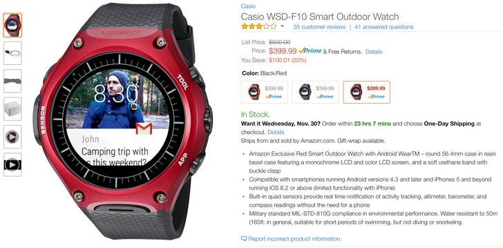 [Deal Alert] Casio's WSD-F10 Android Wear smartwatch is down to $399 on Amazon ($100 off)