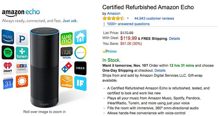 [Deal Alert] Certified refurbished Amazon Echo $120 on Amazon ($51 off)