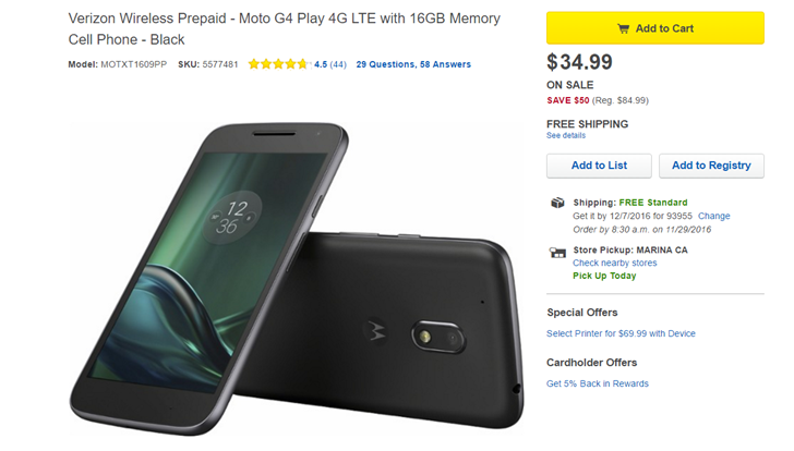 [Deal Alert] Best Buy offers the Verizon prepaid version of the Moto G4 Play for just $35, no service required