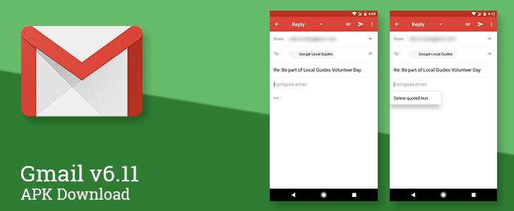 Gmail v6.11 changes the interface for quoted text in replies [APK Download]